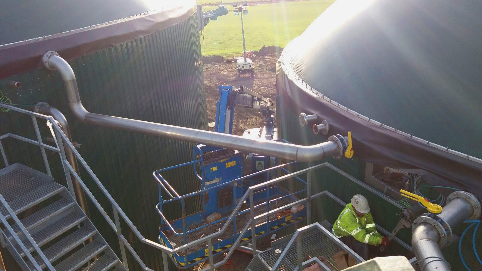 Conexión biogás entre tanques-Planta Biogás 1MW Inchdairnie Reino Unido