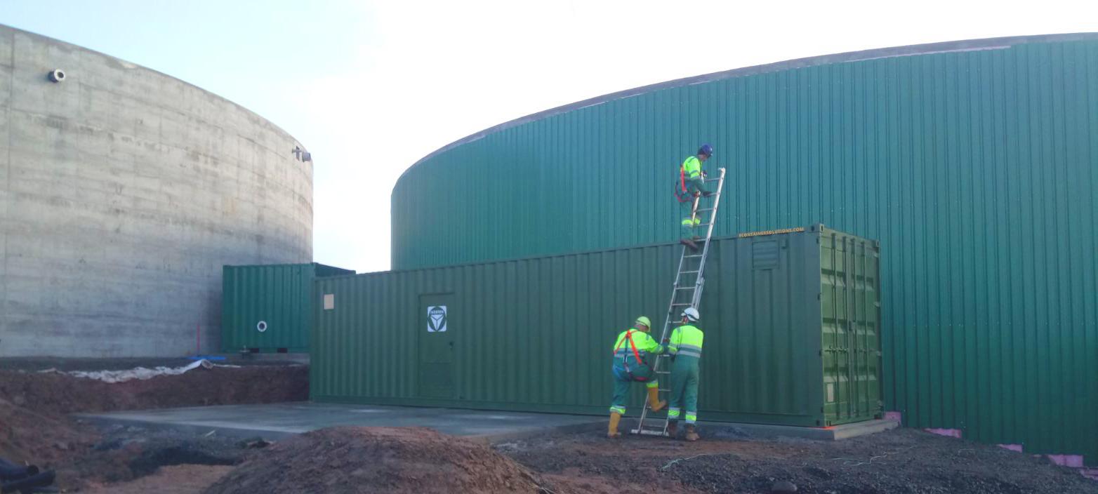 Instalación de Contenedor Pasteurizador01-Planta Biogás 1MW Inchdairnie Reino Unido