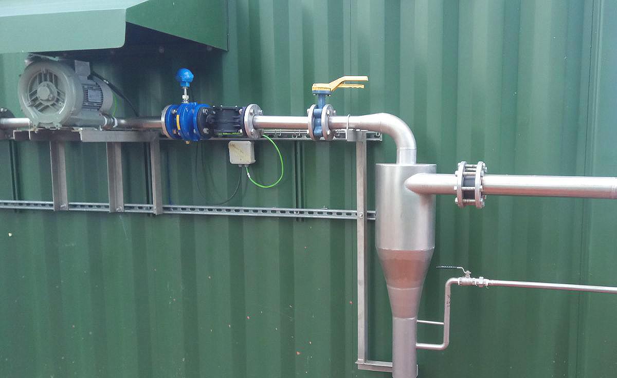 Biogas Stracathro United Kingdom Entrada de Biogás al Contenedor Caldera-Planta de Biogás de 1MW en Stracathro Reino Unido